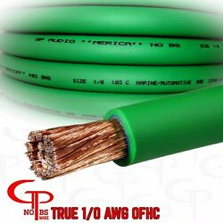 50 Ft True Awg 1/0 Gauge Ofc Copper Power Wire Green Ground Cable Gp Car Audio