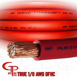 25 Ft True Awg 1/0 Gauge Ofc Copper Red Power Wire Ground Cable Gp Car Audio Usa