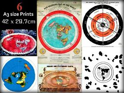 Job Lot Wholesale Bundle Of 6 Flat Earth World Maps And Poster Prints