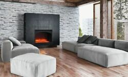 Zero Clearance Electric Fireplace W/ Arch Steel Surround And Ice Media
