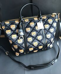 NWT Moschino Bear Collection Quilted Nylon Shopping Tote CrossBody Bag Purse