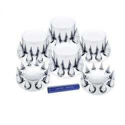 33 Mm Thread-on Dome Axle Cover Combo Kit W/ Spike Lug Nut Covers And Tool