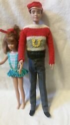1962 Barbie Ken Doll And 1963 Skipper Doll With Barbie Case.