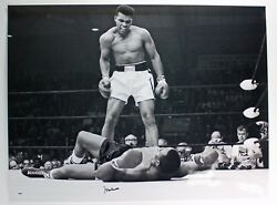 Muhammad Ali Signed Photograph Black And White Over Sonny Liston 28 X 24 Large
