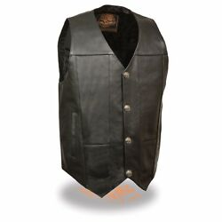 Milwaukee Leather Menand039s Plain Side Vest W/ Buffalo Nickel Snaps And Gun Pockets