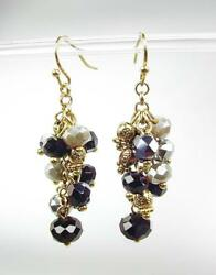 Chic Artisanal Antique Gold Smoky Gray Black Onyx Crystals Earrings