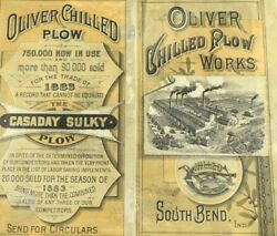 1883 Oliver Chilled Plow Works Casaday Sulky Plow Folder Trade Card Andk