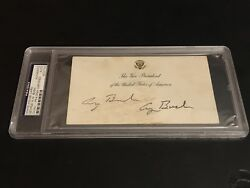 Psa/dna Authentic George H.w. Bush Twice Signed Vice President White House Card