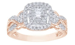 0.5 Ct Round Cut Diamond Frame Vintage-style Engagement Ring In 10k Rose Gold