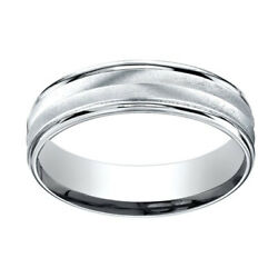 18K White Gold 6mm Comfort-Fit Chevron Design High Polished Band Ring Sz-10