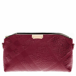 Burberry Women's Small Embossed Check Clutch Bag Mahogany 3990834