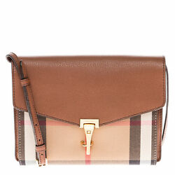Burberry Women's Small Leather and House Check Crossbody Bag Tan