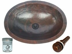 Oval Copper Hand Hammered Bathroom Vanity Sink With Drain And Wax