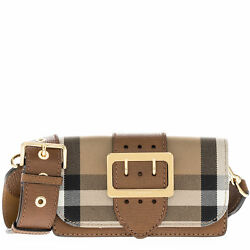 Burberry Women's Buckle Bag in House Check and Leather Tan Black 4022458