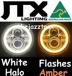 1pr Jtx Led Halo 7 Headlights Flash Amber Suit Land Rover Series 1 2 2a 3