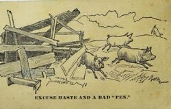Horton's Baggage And Package Express Pigs Escaping Pen Excuse Haste... P61