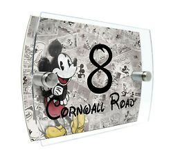 Mickey House Number Sign Plaque Glass Effect Acrylic Door Wall