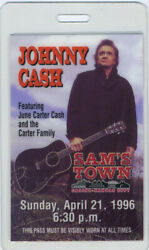 Johnny Cash And June Carter Cash 1996 Laminated Backstage Pass Samand039s Town