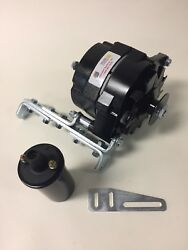 New Willys Jeep Black Alternator One 1 Wire 12v 65a, 5/8 Pulley, Bracket, Coil