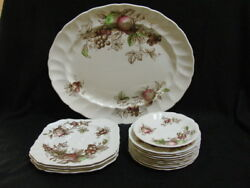 Johnson Brother Harvest Time Hand Engraving Service Platter Salad And Butter Plate