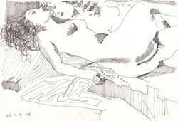 Charles Blackman And039reclining Nudesand039 Original Signed Drawing + Coa Collectable Art