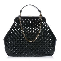 CHANEL Black Patent Quilted Mademoiselle Frame Bag