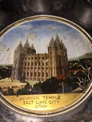 Late 1800's Antique Plate Mother Of Pearl Picture Mormon Temple Salt Lake City