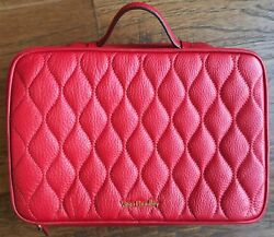 Vera Bradley Large Blush and Brush Makeup Case Tango Red Leather Cosmetic Bag