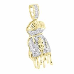 Melting Dripping Money Bag Pendant 10k Yellow Gold Charm Custom Pave Set Men