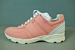 38.5 Salmon Pink Canvas Leather Lace Up Sneakers Tennis Shoes Trainer New