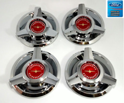 Set/4 Red Logo Wire Wheel Spinner Hubcaps For 1962-63 Ford Thunderbird