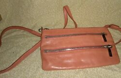 RARE Hobo International Red Pink Coral Leather Cross Body Purse Vintage Map