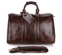 Mens Real Leather Travel Tote Duffle Gym Shoulder Bags Carry On Hand Bag Laptop