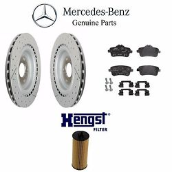 Fits Mercedes C117 R172 Set Of 2 Rear Brake Rotors W/ Pads And Oil Filter Genuine