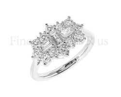 1.00carat Baguette And Round Diamonds Boat Cluster Ring In 9k White And Yellow Gold
