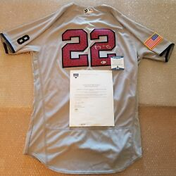 Jacoby Ellsbury Signed Game Used Yankees And03916 Road Jersey Mlb/steiner/beckett Coa