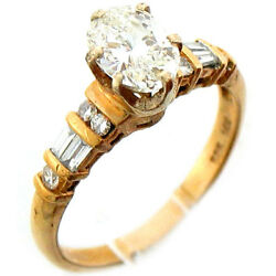 1.50Ctw Oval Cut Solitaire Diamond w Accent Her Engagement Ring 14K Yellow Gold