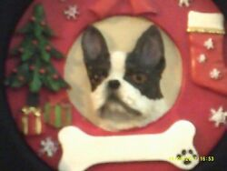 E&S Pets Boston Terrier  Personalized Christmas Ornament 20a
