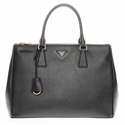 Prada Women's Saffiano Lux Executive Tote Bag Black