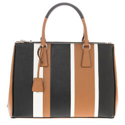 Prada Women's Saffiano Baiadera Striped Galleria Tote Bag Caramel White