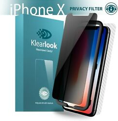 iPhone X Screen Protector Privacy Front Tempered Glass + Back Carbon Fiber Skin