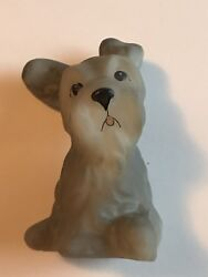 Vintage Fenton Satin Glass Scotty Dog Terrier Schnauzer Puppy Figurine