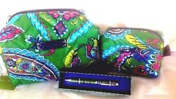 Vera Bradley PUFFY COSMETIC CASES-MAKEUP BAGS + MATCHING PEN *3PC CHRISTMAS GIFT