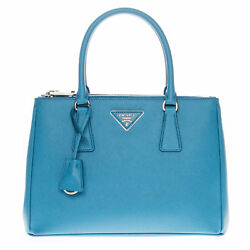 Prada Woman's Saffiano Lux Small Double-Zip Tote Bag Blue