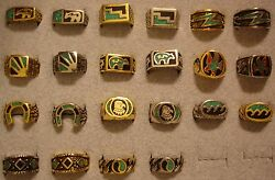 100 Vintage Usa Made Boyandrsquos Western Turquoise And Contemporary Rings In Sizes 4 - 8