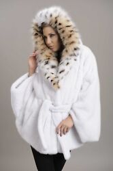 Brand New Blackglama Mink Cape With Labels Black Sable Cat Lynx Hood