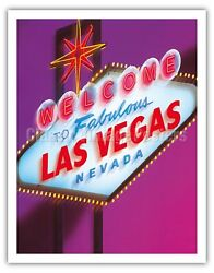 Welcome To Fabulous Las Vegas Nevada Sign - Vintage Travel Poster Fine Art Print