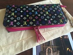 Authentic Louis Vuitton Multicolor And Pink Insolite Wristlet Wallet w Chain