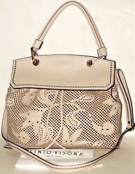 Plinio Visona Made in Italy Design Laser Cut Leather Satchel Crossbody Bag