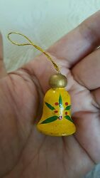 Wooden Handpainted Christmas Bell Tree Ornament Decoration • Pre-owned • 1